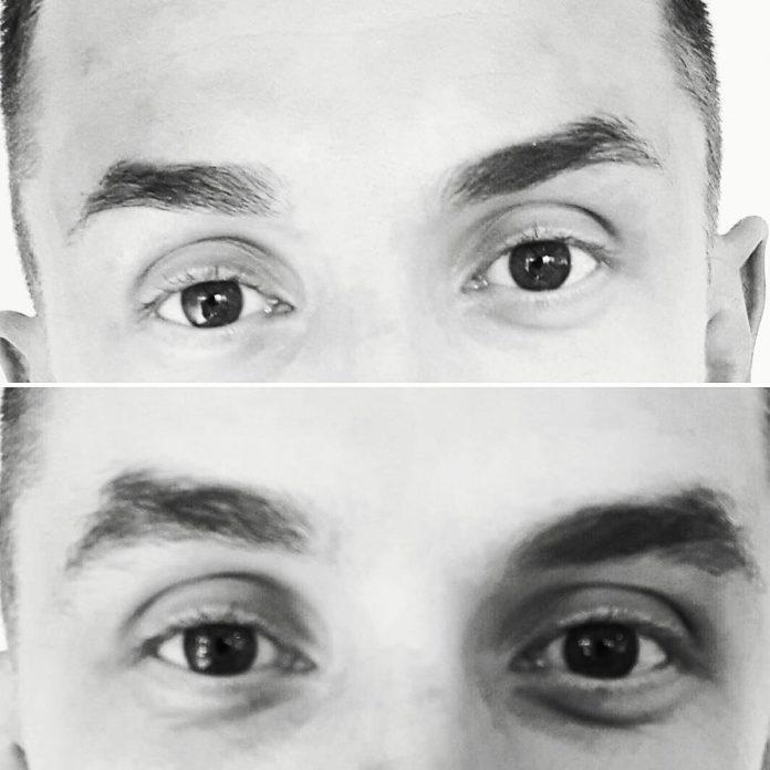 Stylizacja brwi u mężczyzn - przed i po